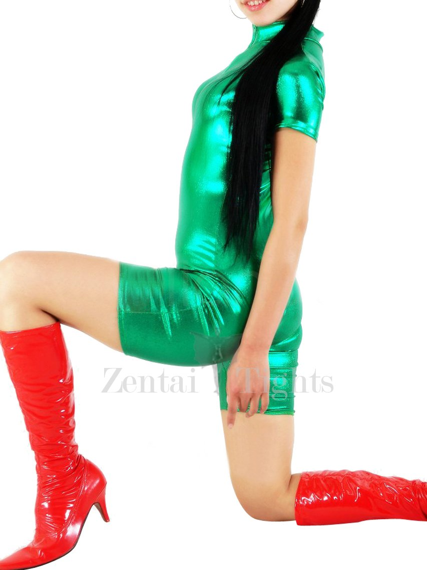 Green Shiny Metallic Half Length Unisex Catsuit