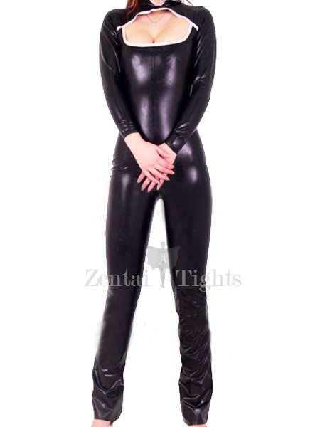 Shiny Metallic Catsuit with Hollow Bust