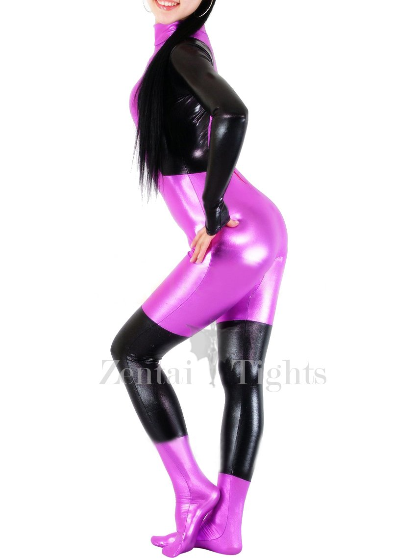 Shiny Metallic Purple with Black Unisex Catsuit