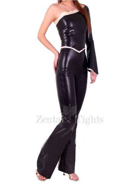 Shiny Metallic Single Sleeve Catsuit