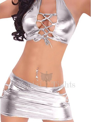 Silver Shiny Metallic Sexy Two-set Costume