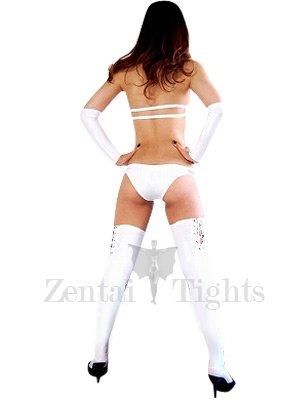 Suitable Top White Shiny Metallic Sexy Costume