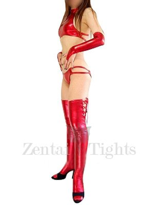 Superior Red Shiny Metallic Sexy Costume