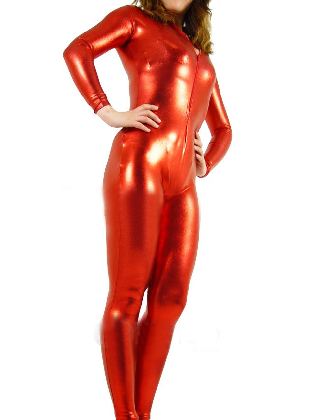 Top Red Shiny Metallic Front Open Unisex Catsuit