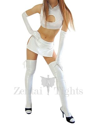 White Shiny Metallic Sexy Four-Set Costume