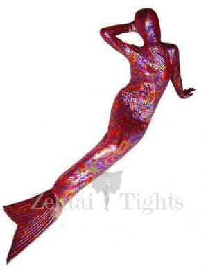 Mermaid Trumpet Unisex Shiny Metallic Morph Suit Zentai Suit