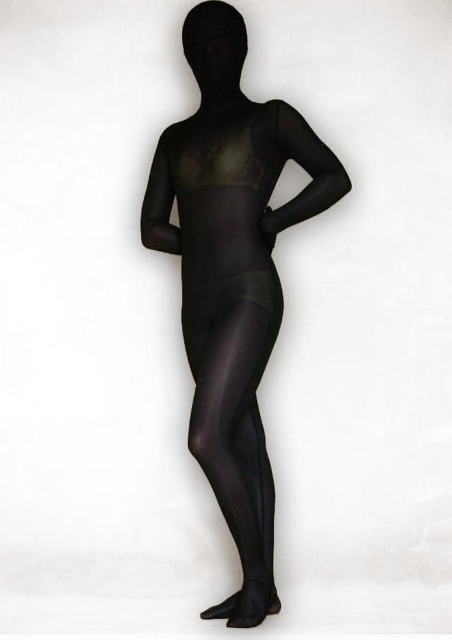 Black Lycra Silk Morph Suit Zentai Catsuit Tights