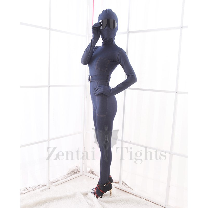 Elastic Stretch Denim Blue Jeans Fashion Morph Suit Zentai Catsuit Tights