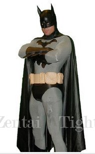 Movie and Television Animation Superhero Cosplay Batman Costume Morph Suit Zentai Lycra Tights Fullbody Tights