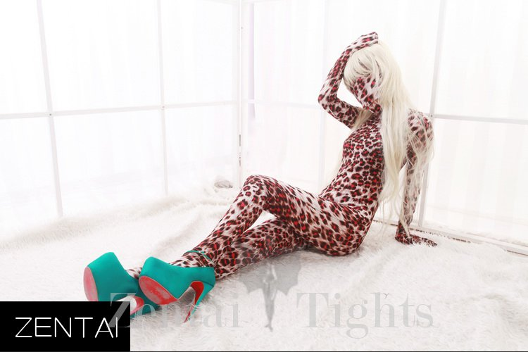 ZENTAI Brown Classic Leopard Spots Dupont Catsuit Tights