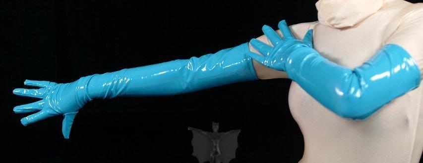 ZENTAI Lake Blue Long PVC Gloves