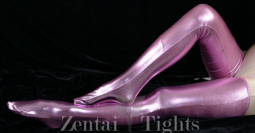 ZENTAI Pink Shiny Metallic Stockings