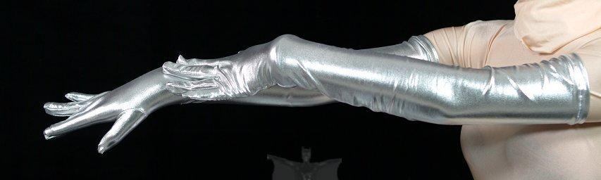 ZENTAI Silver Shiny Metallic Gloves