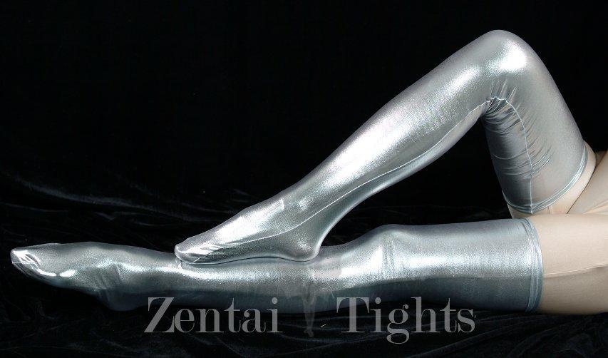 ZENTAI Silver Shiny Metallic Stockings