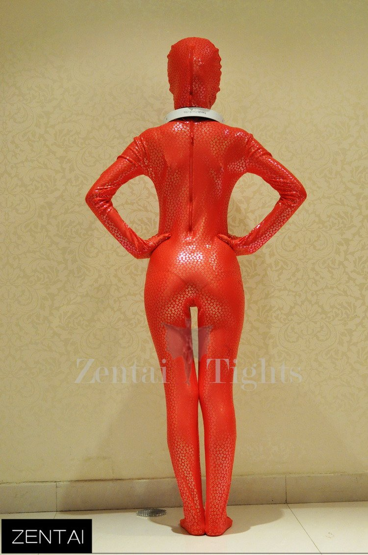 Red and Gold Flake Coating Fullbody Tights Tights Morph Suit Zentai Suit