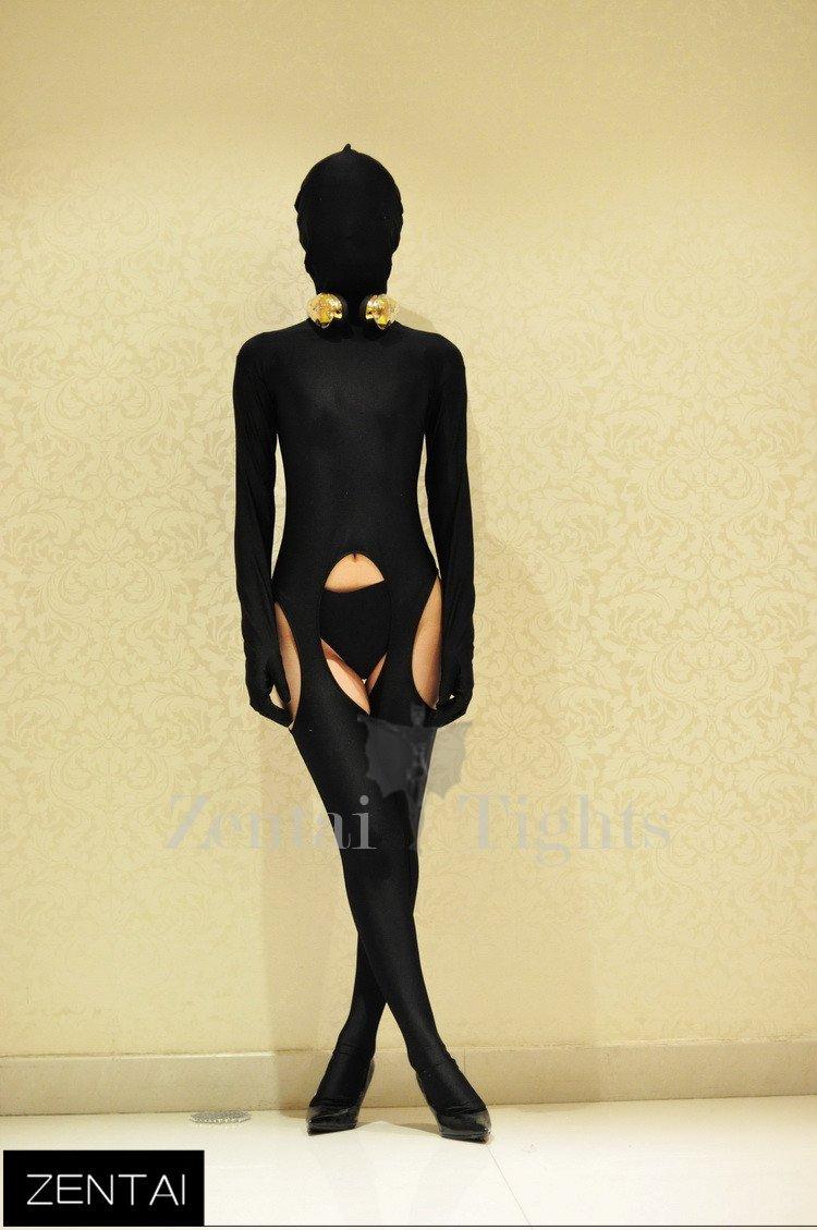 Sexy Black Tights Chest Decoration Morph Suit Zentai Suit Costume
