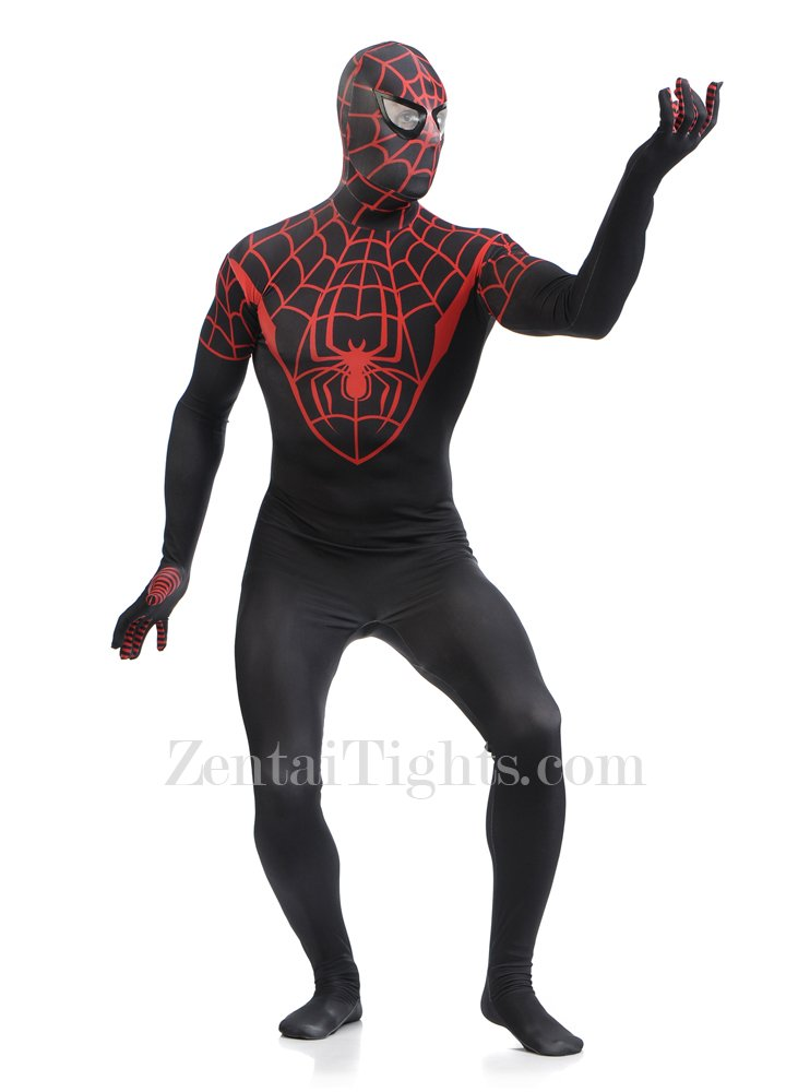 Red and Black Spiderman Super Hero Full Body Spandex Holiday Unisex Lycra Morph Zentai Suit