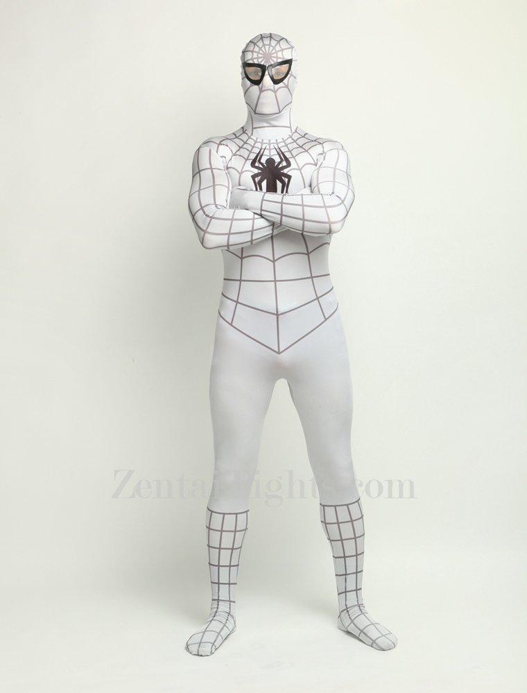 White Spiderman Super Hero Full Body Spandex Holiday Unisex Lycra Morph Zentai Suit