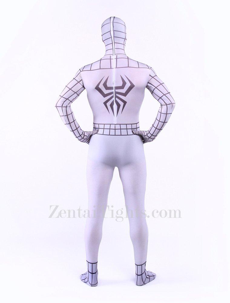 White Spiderman Super Hero Halloween Full Body Spandex Holiday Unisex Lycra Morph Zentai Suit